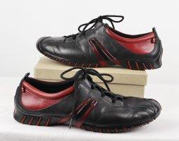 Sportlich Sneaker Schnürschuhe ecco Größe 36 Schwarz Rot Leder Profilsohle Halbschuhe