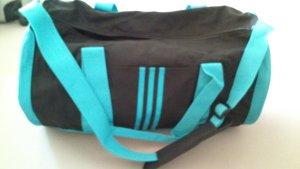Adidas Sac de sport noir-turquoise matériel synthétique