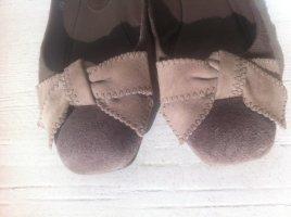Unützer Bailarinas con tacón Mary Jane marrón grisáceo Cuero