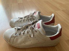 adidas stan smith Basket à lacet blanc-rouge framboise