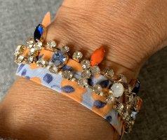 Bracelet brésilien orange foncé-bleu