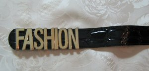 Statement Gürtel Lack Schwarz Gold Fashion Kroko 80cm