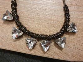 Collier incrusté de pierres argenté-noir tissu mixte