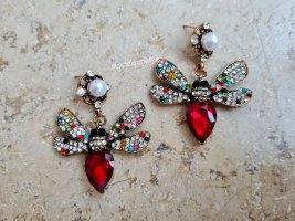 Statement Ohrhänger mit großen roten Steinen * Libellen