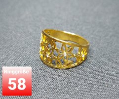 SmD Bague incrustée de pierres doré