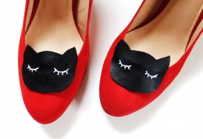 Statement Schmuck für Schuhe Schuhschmuck Katze Cat Schwarz Weiß Schuhclips Pumps Clips Schmuckset