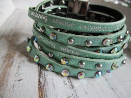 Charm Bracelet turquoise-silver-colored leather