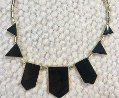 Statementkette Halskette elegant schwarz Gold