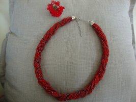 Statementkette, Perlenkette in Rot und metallic