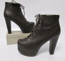 Steampunk Killer Heels Stiefel ideal Größe 38 Braun Dunklebraun Plateau Eckig Kunstleder Schnürschuhe Ankle Boots Stiefeletten Pumps Schnürstiefel