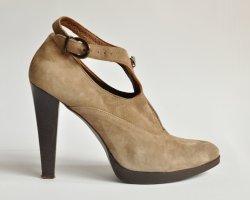 Stefanel Hochfront Pumps High Heels  mit Zipper graubraun Gr. 40