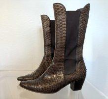 STEIGER Schlangenleder Stiefeletten, Stiefel, braun