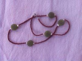 Collier vert olive-rouille