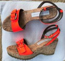 * STELLA MCCARTNEY * NEU ! SANDALEN eco Lackleder neon orange Plateau Kork Gr 37