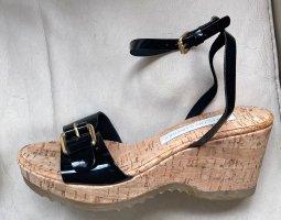 Stella McCartney Sandales à lanière noir-doré cuir