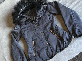 Zara Basic Pikowana kurtka ciemnoniebieski