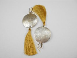 handmade unikat Silver Earrings silver-colored-dark yellow