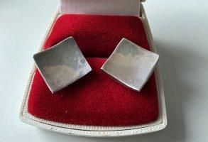 925er Silber Orecchino a vite grigio chiaro Tessuto misto