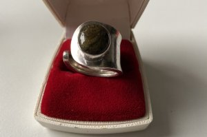 STERLING - Silber - Ring mit Moosachat - massiv