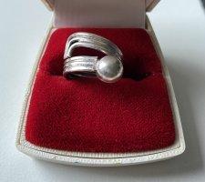 925er Silber Anello d'argento grigio chiaro Tessuto misto