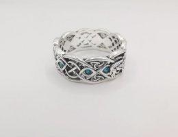 Sterling Silber Vintage Ring, Wolf Silberring mit Steinchen und Symbolen