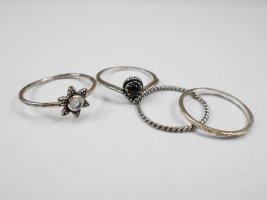 keine Marke Srebrny pierścionek Wielokolorowy