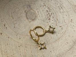 Sternchen hänge creolen Silber 925 vergoldet