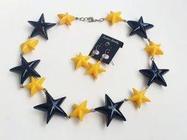 Sterne Halskette und Ohrringe Schmuckset gelb schwarz