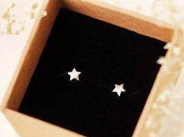 Sterne Vintage Retro Ohrringe 925 Sterling Silber ungetragen