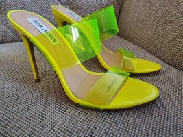 Steve madden gr. 39 pantoletten sandalen sandaletten gelb neongelb blogger neu stilettos high heels schuhe