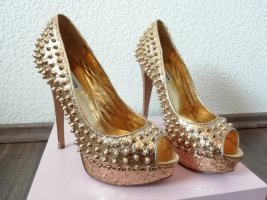 Steve Madden Spike Peeptoes Gold Glitter Glitzer Party