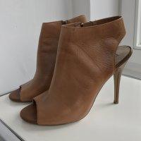 Steve Madden Stiefel peeptoe Pumps ankel boots cognac Leder 39 High heels Open Toe bootie