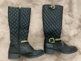 Gumowe buty czarny-złoto