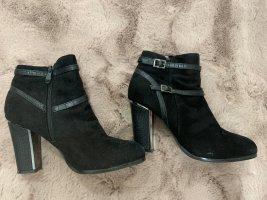 Wysokie buty na obcasie czarny-srebrny