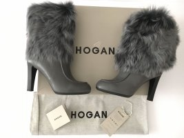 Hogan Fur Boots grey-black