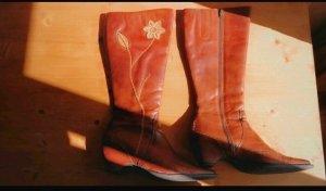 Stiefel Leder Boots rotbraun Mahagoni Blumenmuster