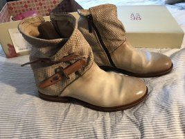 A.S.98 Zipper Booties oatmeal-cognac-coloured leather