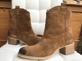 Stiefelette, Boots, Bootie, NEU, 39, Leder, cognac, braun