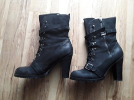 Next Lace-up Booties black-silver-colored