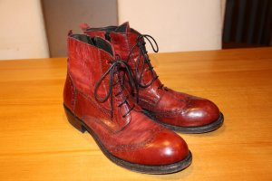 Moma Lace-up Booties carmine-dark red leather