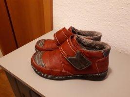 Zapatillas con velcro gris-carmín Cuero