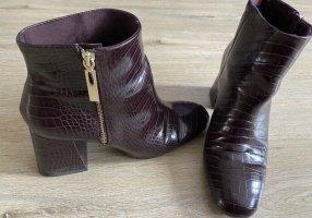 Buty z krótką cholewką na platformie brązowo-fioletowy