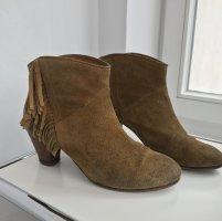 Stiefeletten Ankleboots Bottines Maje 39 velours velvet suède brown braun cognac cowboy stil