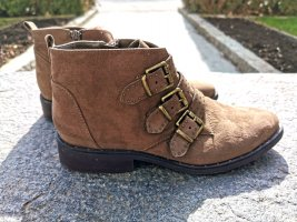 Stiefeletten Boots Braun mokka goldene Schnallen