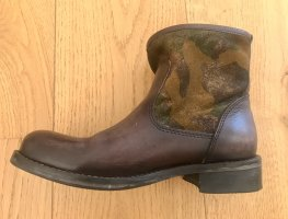 Cafènoir Western Booties brown-olive green leather