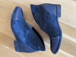 Laarsjes met sleehak donkerblauw