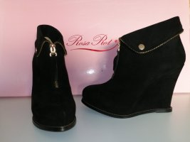 Rosa Rot Wedge Booties black-gold-colored