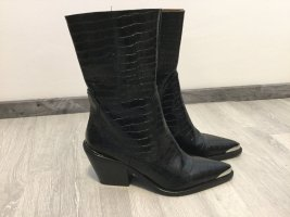 Zara Western Booties black-silver-colored leather