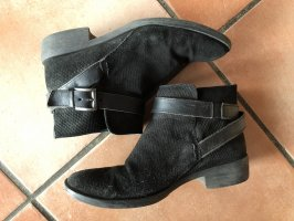 5th Avenue Slip-on Booties black-silver-colored leather