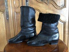 STIEFELETTEN Stiefel Gr 38 (UK 5) Schwarz Leder Krokooptik Fell Winter Hassia